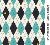 seamless blue argyle pattern... | Shutterstock . vector #689958805