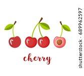 pair of three cherries ... | Shutterstock .eps vector #689962597