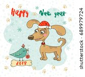 christmas and happy new year...   Shutterstock .eps vector #689979724