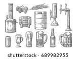 beer set with tap  glass  can ... | Shutterstock .eps vector #689982955