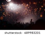 stage lights and crowd of... | Shutterstock . vector #689983201