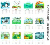 monthly calendar 2018 with... | Shutterstock .eps vector #689986141