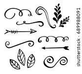 hand made flourishes ornaments... | Shutterstock .eps vector #689988091