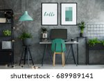 dark industrial office interior ... | Shutterstock . vector #689989141