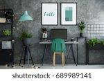 dark industrial office interior ... | Shutterstock . vector #689989141