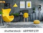modern retro studio with... | Shutterstock . vector #689989159