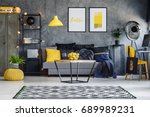 optimistic teenager's room with ... | Shutterstock . vector #689989231