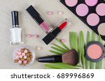 cosmetics top view on a... | Shutterstock . vector #689996869
