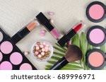 cosmetics top view on a... | Shutterstock . vector #689996971