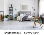 king size bed with blankets and ... | Shutterstock . vector #689997844