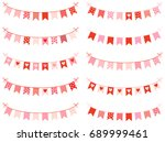 cute buntings with hearts  dots ... | Shutterstock .eps vector #689999461