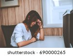 asian business people sad from... | Shutterstock . vector #690000265