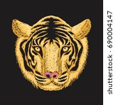 tiger face embroidery design...   Shutterstock .eps vector #690004147