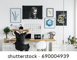 spacious  white office in... | Shutterstock . vector #690004939