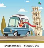 a woman drives a little blue... | Shutterstock .eps vector #690010141