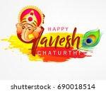 happy ganesh chaturthi design ... | Shutterstock .eps vector #690018514