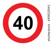 40 speed limitation road sign... | Shutterstock .eps vector #690023041