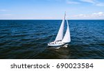 aerial photography of yacht... | Shutterstock . vector #690023584