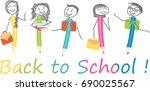children in pen shapes with... | Shutterstock .eps vector #690025567