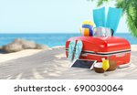 suitcase on the beach for... | Shutterstock . vector #690030064