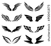 wings icons set | Shutterstock .eps vector #690041875