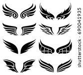 wings icons set   Shutterstock .eps vector #690041935