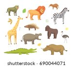 african animals cartoon set.... | Shutterstock . vector #690044071