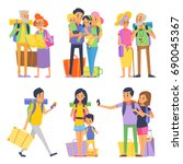 happy family goes to vacation.... | Shutterstock . vector #690045367
