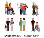 disabled person with his... | Shutterstock . vector #690045844
