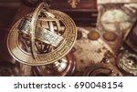 Antique Brass Globe Sphere...