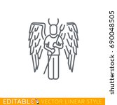 angel and devil business icons. ... | Shutterstock .eps vector #690048505