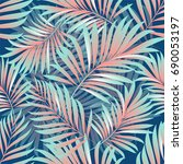 tropical palm leaves  jungle... | Shutterstock .eps vector #690053197