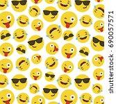 emoji pattern on white... | Shutterstock .eps vector #690057571