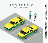 taxi car isometric with taxi... | Shutterstock .eps vector #690063625