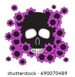 skull with pink flowers vector...