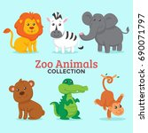 zoo animals collection | Shutterstock .eps vector #690071797