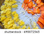 pineapple and papaya fruit on... | Shutterstock . vector #690072565