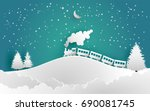 train and pines in snow... | Shutterstock .eps vector #690081745
