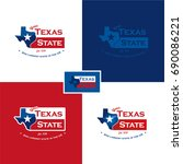 texas map   flag   vector... | Shutterstock .eps vector #690086221