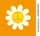 hippie peace symbol on daisy... | Shutterstock .eps vector #690087694