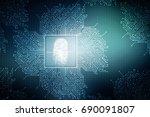 2d illustration finger print  | Shutterstock . vector #690091807