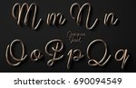 3d render of copper font with... | Shutterstock . vector #690094549