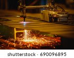 worker cutting steel plate with ... | Shutterstock . vector #690096895