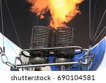 close up gas burner of hot air... | Shutterstock . vector #690104581