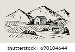 vector image of village and... | Shutterstock .eps vector #690104644