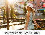 woman tourist travel in italy.... | Shutterstock . vector #690105871