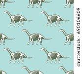 dinosaurs skeletons silhouettes ... | Shutterstock .eps vector #690106609