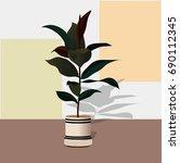 modern plants in pots   Shutterstock .eps vector #690112345