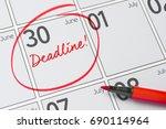 deadline written on a calendar  ... | Shutterstock . vector #690114964