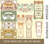 vector vintage items  label art ... | Shutterstock .eps vector #69012613
